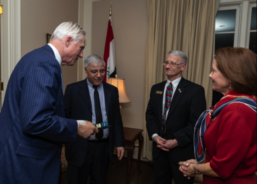 (L to R) Former undersecretary of the Army Ray DuBois with Iraqi ambassador Fareed Yasseen, Dr. Michael Lynch of the Army War College, and Helen DuBois.